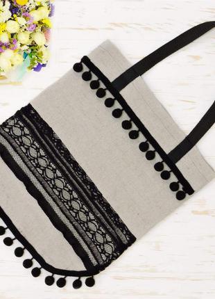 Оригинальная эко-сумка шоппер lace. бежевая.