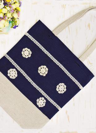 Эко-сумка текстильная flake. синяя-бежевая.