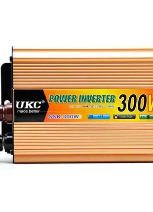 Преобразователь напряжения(инвертор) 12-220V 300W + USB Gold (...
