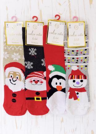 Новогодние носки для мальчика снеговик. микс.
