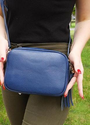 Кожаная сумка через плечо. синяя.
