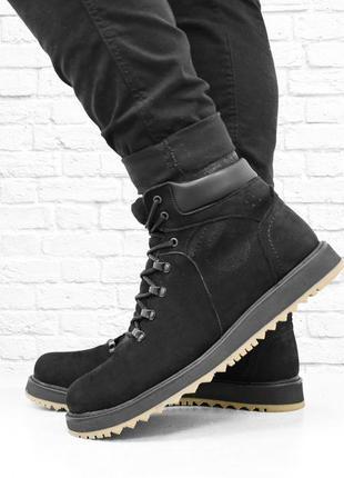 Зимние мужские ботинки из нубука boomer. черные.