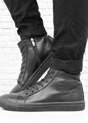 Зимние кожаные ботинки donn-two. черные.