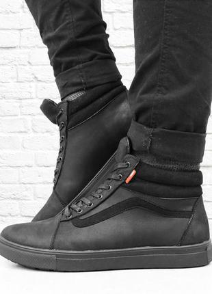 Зимние ботинки из натуральной кожи start. черные.