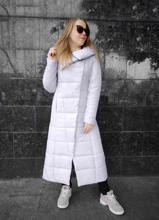 """Зимнее пальто """"comme il faut"""" светло-серое"""