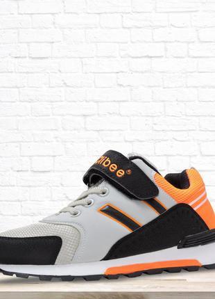 Кроссовки для мальчика lines. черные с оранжевым. 22 см