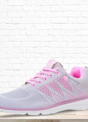 Текстильные кроссовки для модницы. серые с розовым. 21.5 см