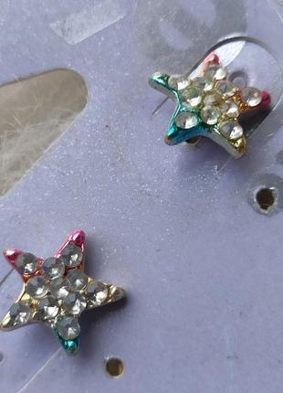 Серебряные маленькие сережки серьги гвоздики звезды цветные с ...