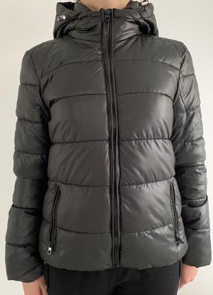 Куртка пуховик, короткий пуховик , чорна куртка дута, демисезо...