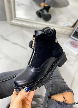 Кожаные модные женские ботинки с креативным пошивом на молнии ...