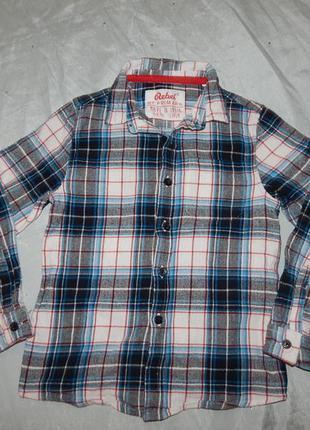 Рубашка в клетку байка модная на мальчика 7-8 лет 128см