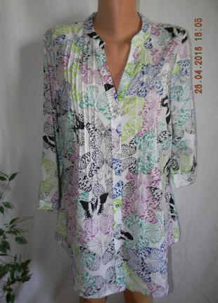Легкая натуральная блуза с принтом бабочки together