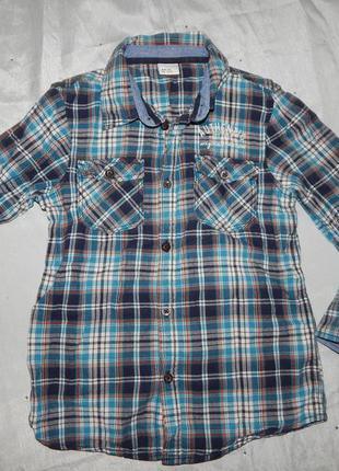 Рубашка байковая модная в клетку на мальчика 6-7 лет 122см
