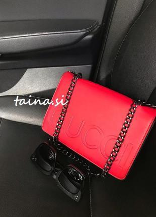 Клатч b5609 red красный сумка на цепочке червона