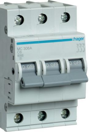 Модульный автоматический выключатель 3P 6кА С-6A 3М Hager