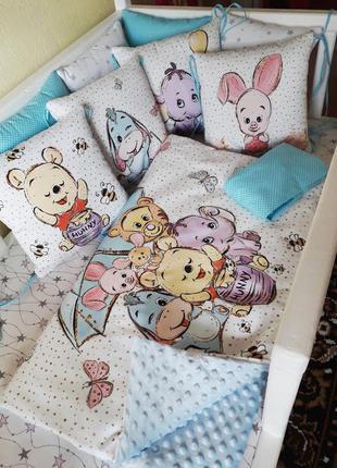 Комплект бортиков постельного в кроватку плед простынь