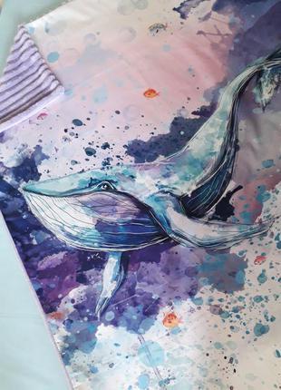 Детский зимний плед с плюшем кит