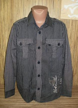 Рубашка с длинным рукавом в полоску на 9-10 лет