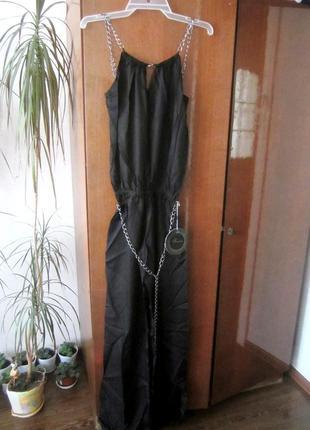 Шикарный натуральный комбинезон - костюм с поясом. с-л