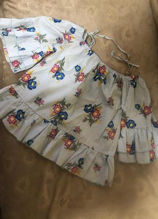 Блуза с рюшами оверсайз, обьемные рукава