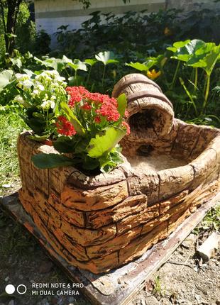 Водоспад цвіточник, сад, декор, акваріум, ваза, з битону