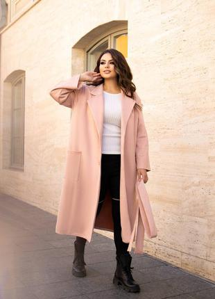 Замшевое пальто на пуговицах