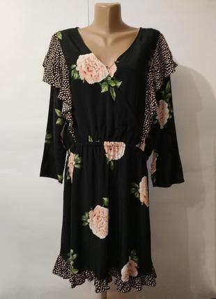 Платье натуральное стильное в цветы большой размер uk 18/46/xxl