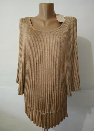 Блуза золотистая новая модная свободного кроя в рубчик monsoon...