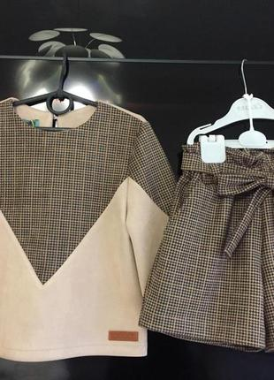 Шикарный костюм на девочку, кофточка и шорты