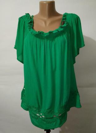 Блуза натуральная кружевная зеленая с открытыми плечами river ...