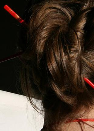 Заколка для волос китайские палочки декоративные гейша шпилька