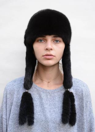 Женская норковая ушанка с длинными ушками