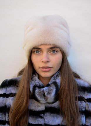 Женская норковая шапка кубанка коса