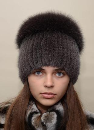 """Женская норковая шапка на вязанной основе """"перо"""" кофе"""