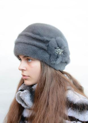 """Зимняя женская норковая шапка """"шарик-цветок"""" синий ирис"""