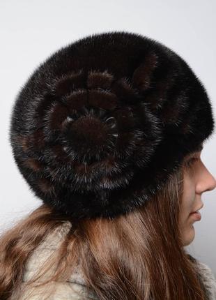 """Женская зимняя норковая шапка """"шарик конфетка орех"""