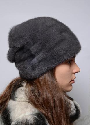 Женская норковая шапка-кубанка конверт ирис