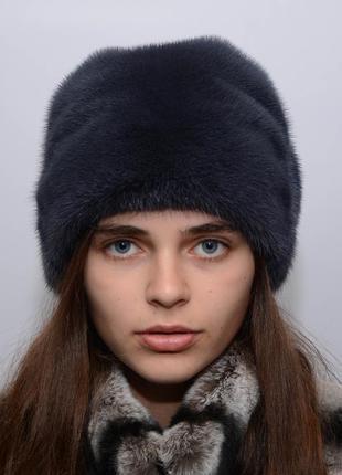 Женская норковая шапка-кубанка листок
