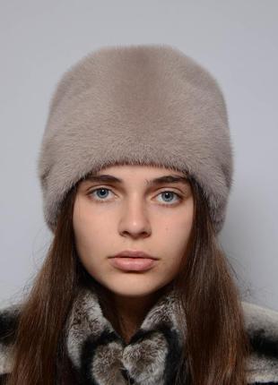 Женская норковая шапка-кубанка ромашка какао