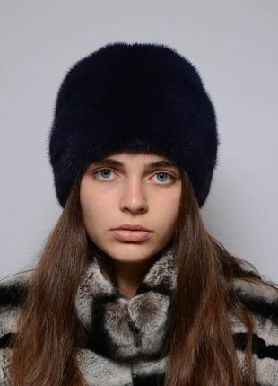 Женская норковая шапка-кубанка ромашка синий