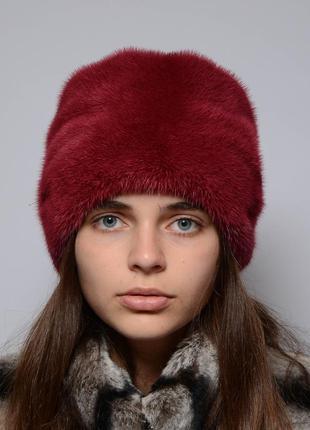 Женская норковая шапка-кубанка ромашка марсал