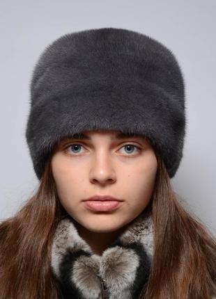 Женская норковая шапка-кубанка стразы ирис