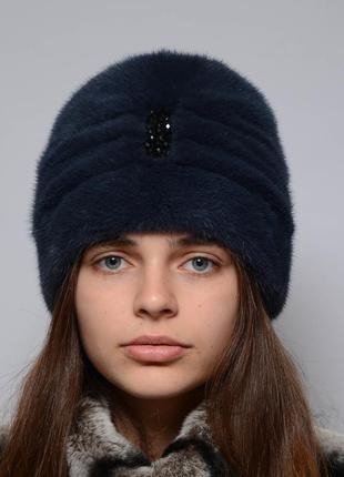 Женская норковая шапка чалма синий