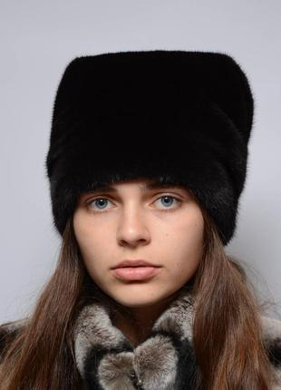 Женская норковая шапка-кубанка высокая махагон