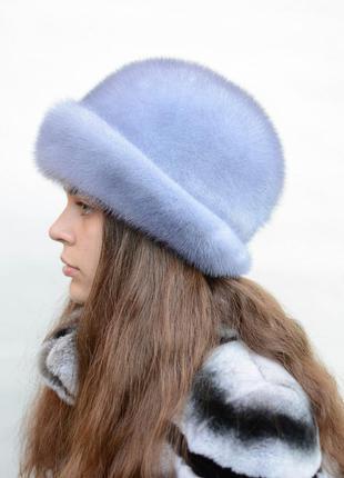 Женская норковая шляпа-отворот сапфир