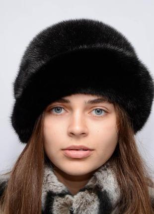 Женская норковая шляпа-роза черный