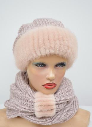 """Женская зимняя вязаная шапка с шарфом """"комплект снуд"""""""