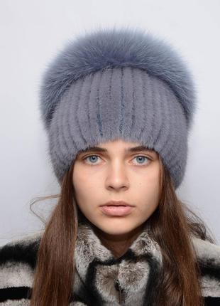 """Женская вязанная норковая шапка """"водопад"""" джинс"""