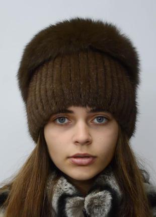 """Женская вязанная норковая шапка """"водопад"""" орех"""