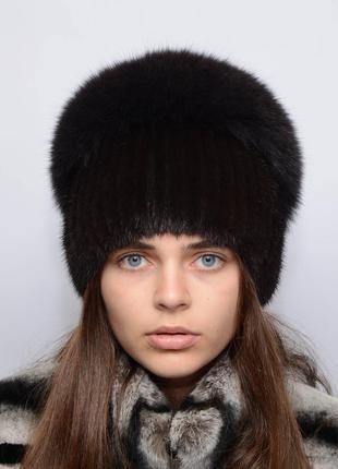 """Женская вязанная норковая шапка """"водопад"""" махагон"""